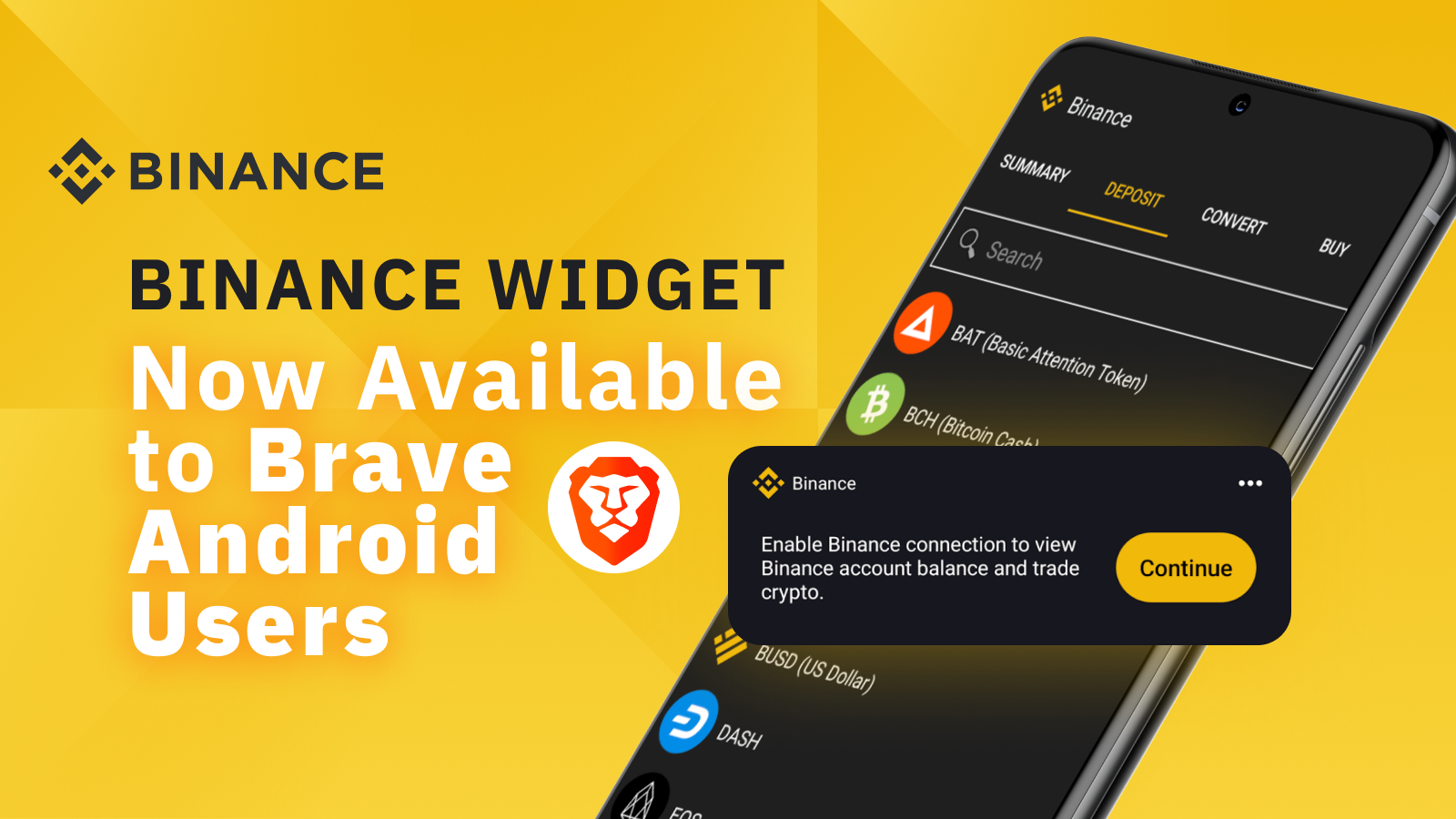 Binance Widget Now Available to Brave Android Users