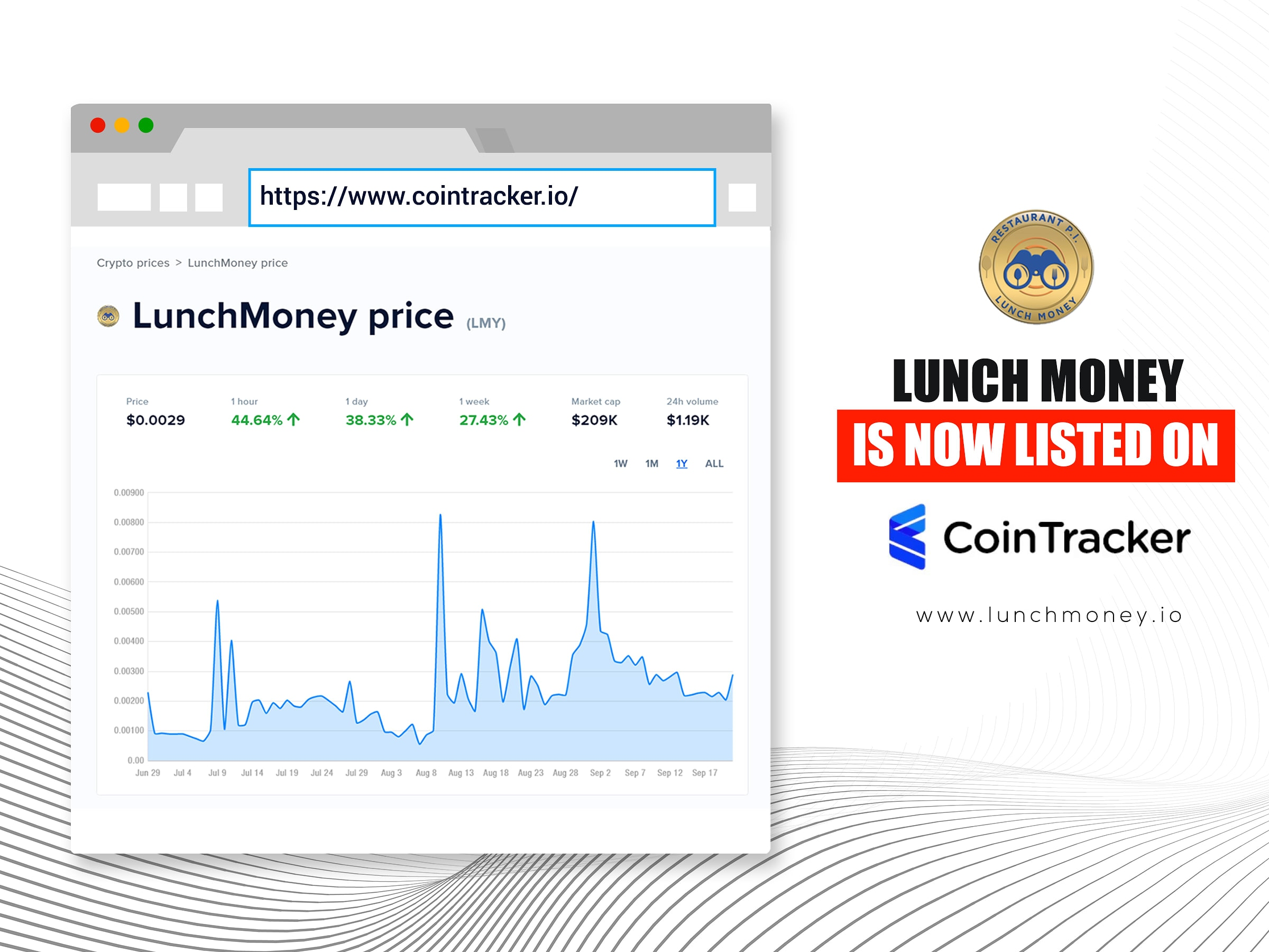 Follow Lunch Money Price and Trends on Cointracker